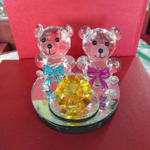 Clear Rare Crystal Glass Decorative Animal Teddy Bear Figurines Paperweight Handmade Creative Gifts Office Home Wedding Decor