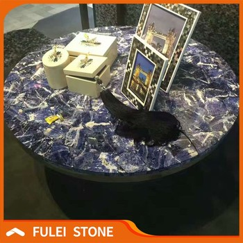Luxury Cloisonne Blue Agate Stone Size Table Top In Living Room
