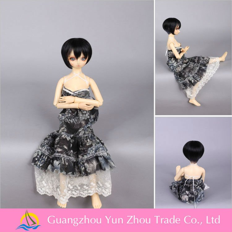 Top quality heat resistant black doll wig