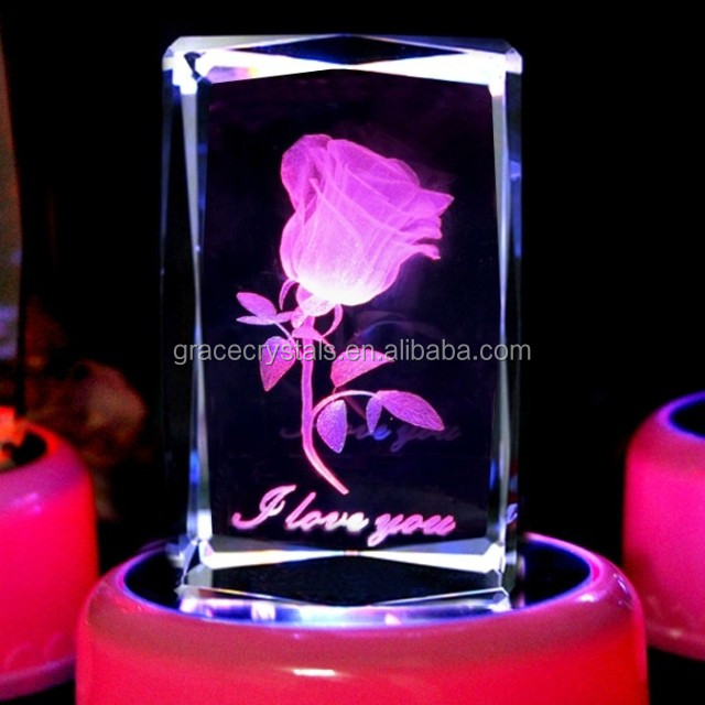 3D laser engraving crystal block with rose image and LED light
