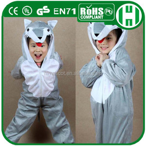 HI CE New designs halloween gray wolf kids animal costumes