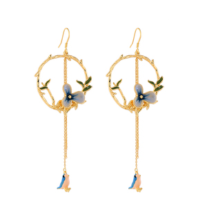 me0049 Gold Bird Dangle Enamel Jewelry Manufacturers
