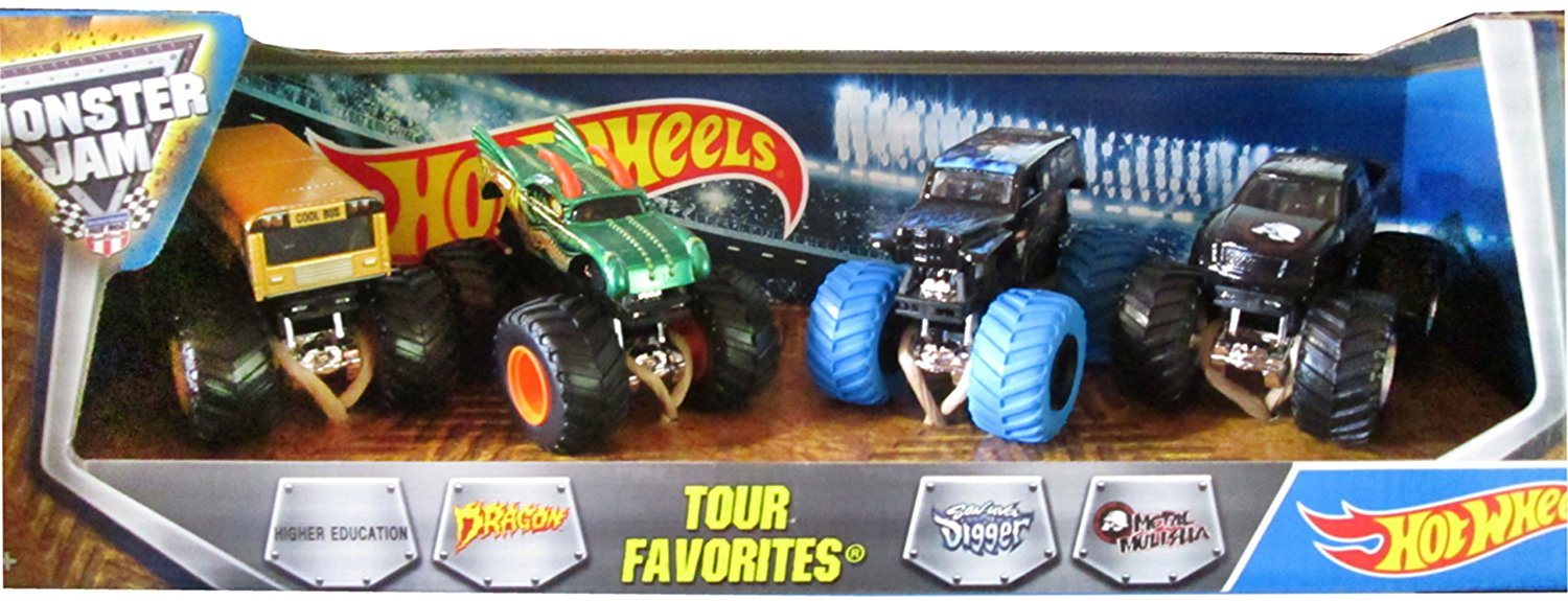 Hot Wheels Monster Jam Tour Favorites: Higher Education, Dragon, Son-Uva Digger, Metal Mulisha