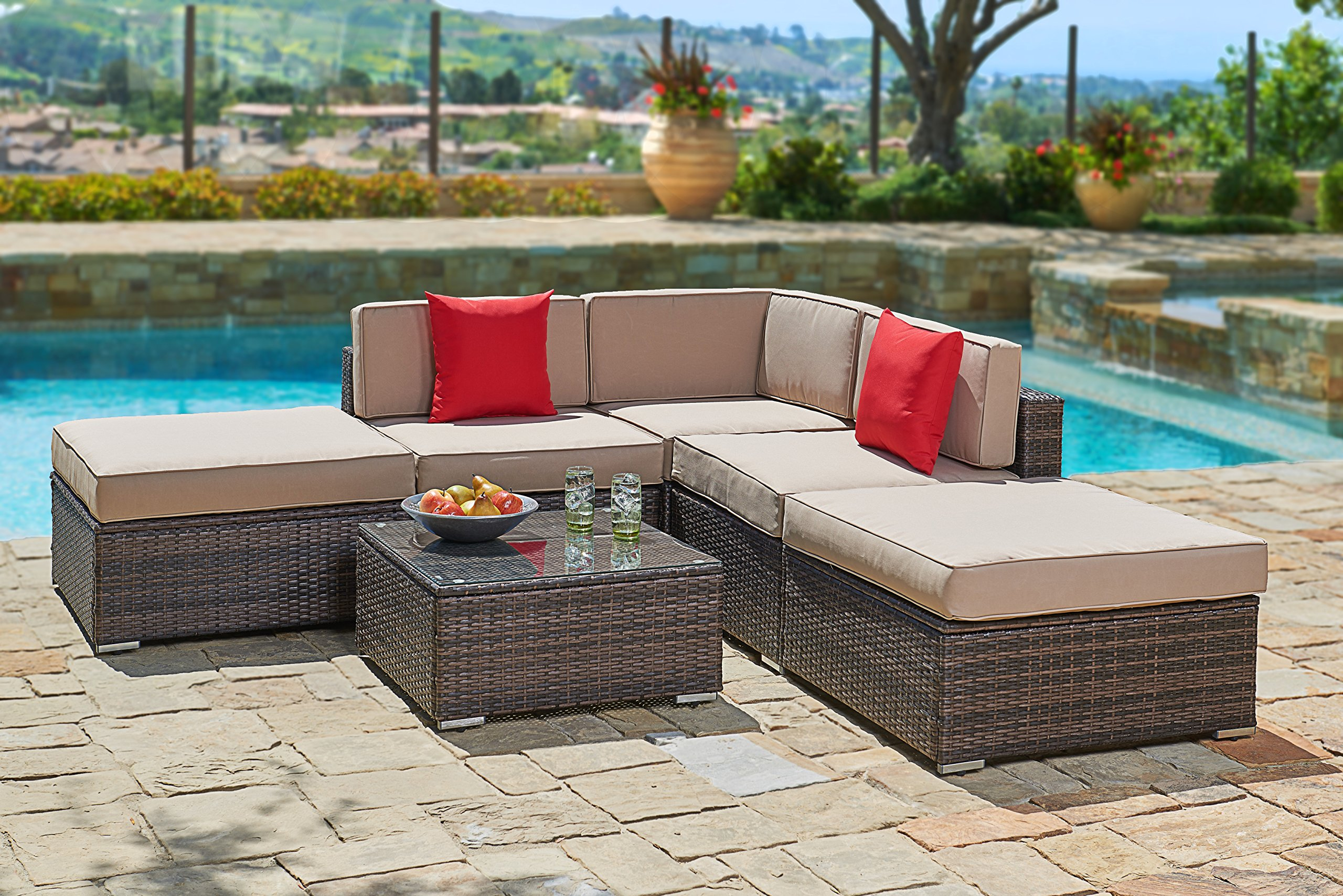 Suncrown Outdoor Furniture Sectional Sofa Set (6-Piece Set) All-Weather Brown Wicker with Brown Washable Seat Cushions & Modern Glass Coffee Table | Patio, Backyard, Pool | Incl. Waterproof Cover