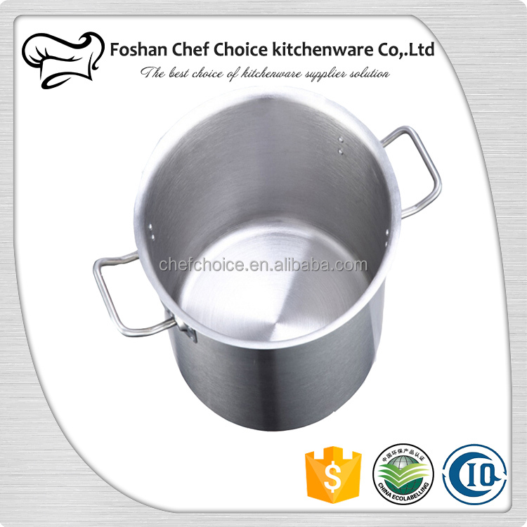 100L Stainless Steel Stock Pot 3 Layers Sandwich Bottom Polished Steel Stock Pot 50x50cm Stainless Steel Stock Pot
