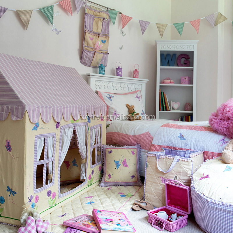 princesse bleu tissu de coton toile enfant lit tente tipi. Black Bedroom Furniture Sets. Home Design Ideas