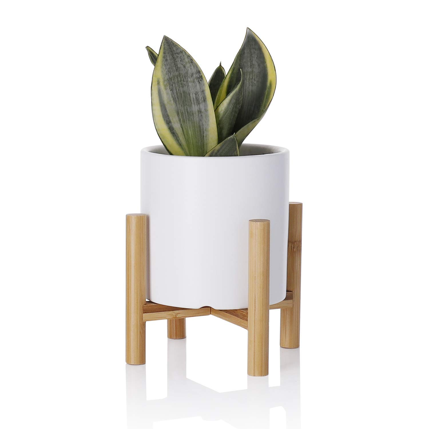 Greenaholics Succulent Pot - 4.3Inch Cylinder Matte Ceramic Succulent Planter with Bamboo Stand for Small Plant, Matte White