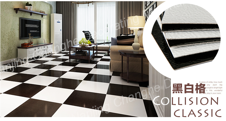 Mm vinile pavimento di piastrelle in bianco e nero
