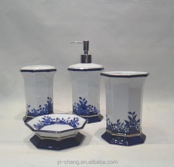 Hand Painted Blue And White Porcelain Bathroom Set Tumbler Toothbrush Holder Lotion Dispenser