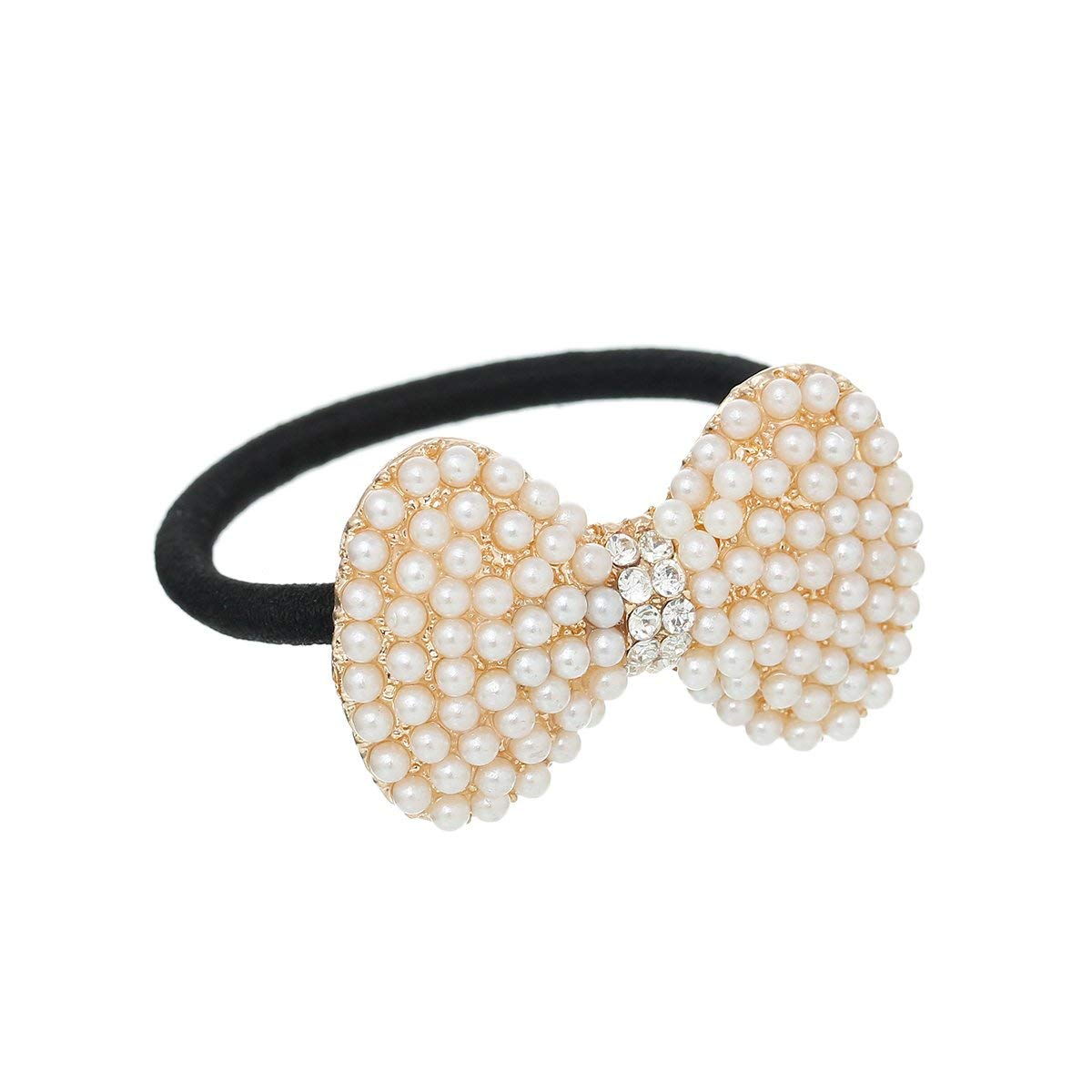 Nylon Cirlce Ring Hair Band Ponytail Holder Black Acrylic Imitation Pearl Choose Your Style From Menu (Bowknot A)