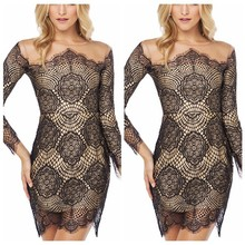 MLC2904 Sexy Lady Women Black Long Sleeve Evening Party Cocktail Slim Lace Mini Dress With High Quality Lining