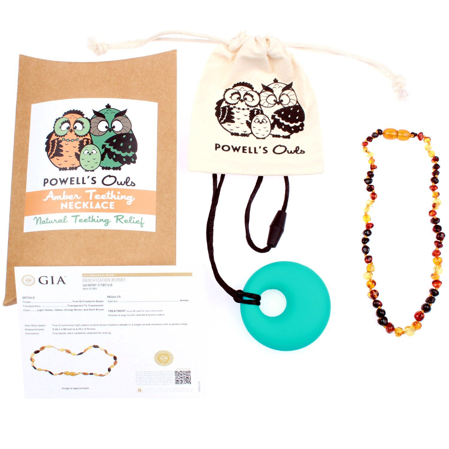 Baltic Amber Teething Necklace Gift Set + FREE Silicone Teething Pendant ($15 Value) Handcrafted, 100% USA Lab-Tested Authentic Amber - Teething Pain Relief (Rainbow - 12.5 Inches)