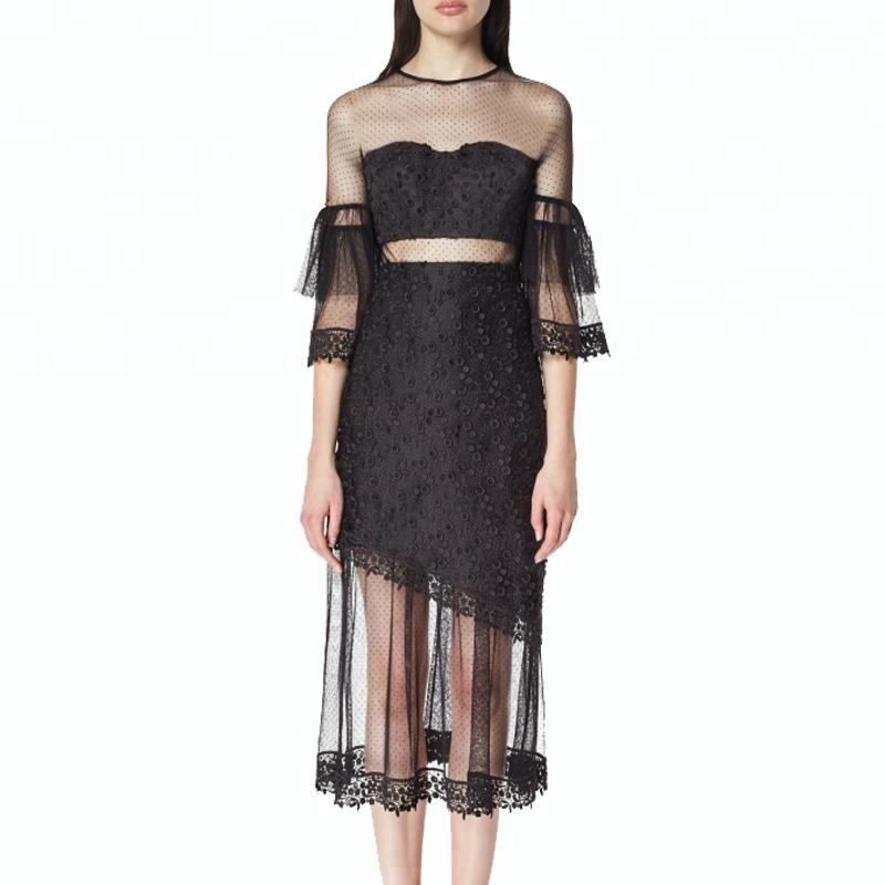 Black gothic sexy transparent mesh 3D embroidery lace dress