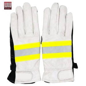Comfortable Safety Leather Cowl Work Fluorescence Firefighting Gloves