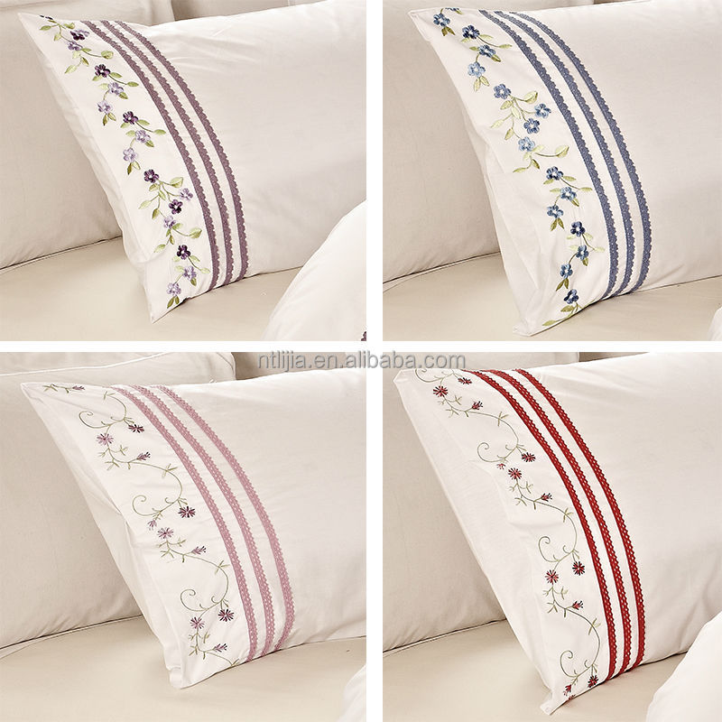 100%cotton Lace Pillow Case Embroidery Pillowcases Embroidered Pillowsham More Embroidery Designs Cushion Cover -