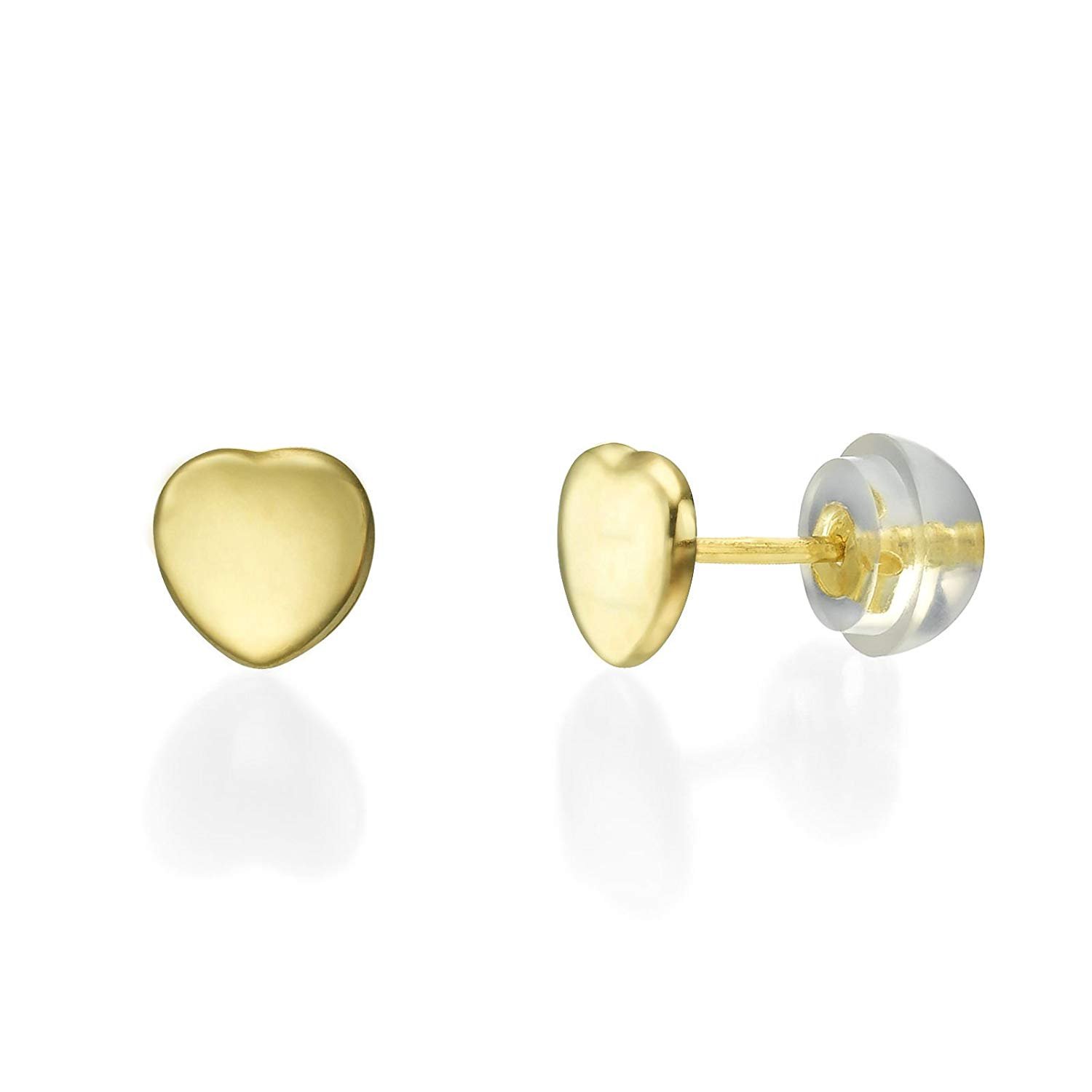 cfc4a0ac3 Get Quotations · 14K Solid Yellow Gold Heart Screw Back Stud Earrings for  Teens and Women Kids Children Gift
