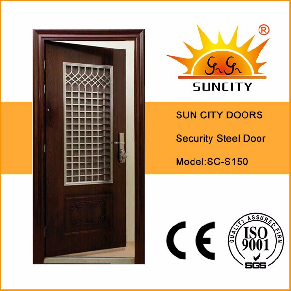 SC-S150Modern Security Stainless Steel Single Gate Door Design, Wrought Insert Iron Door Picture for Home