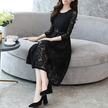 Best Quality Elegant Girl Black Dress Lace Pattern With Long Sleeves Evening Dress