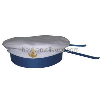 New Arrival custom made 100% cotton screen printed White Sailor Captain Hats