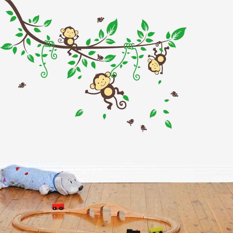 4 Cute Monkeys Wall Decals Sticker Nursery Decor Mural: Kids Cute Monkey Tree Wall Stickers Decals Children