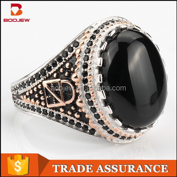 925 sterling silver turkish man gemstone ring black agate stone silver islamic rings for men muslim