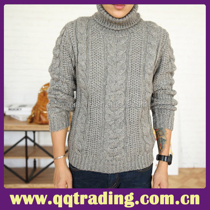 c1ad1f62b7835 China excellent sweater fashion wool cable heavy mens turtleneck sweater