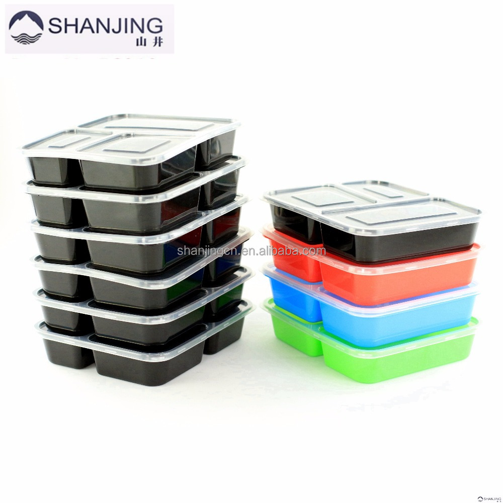 Colorful Food Storage FDA Approved Plastic bento Lunch Box containers 3-Compartment Microwave lunch bento
