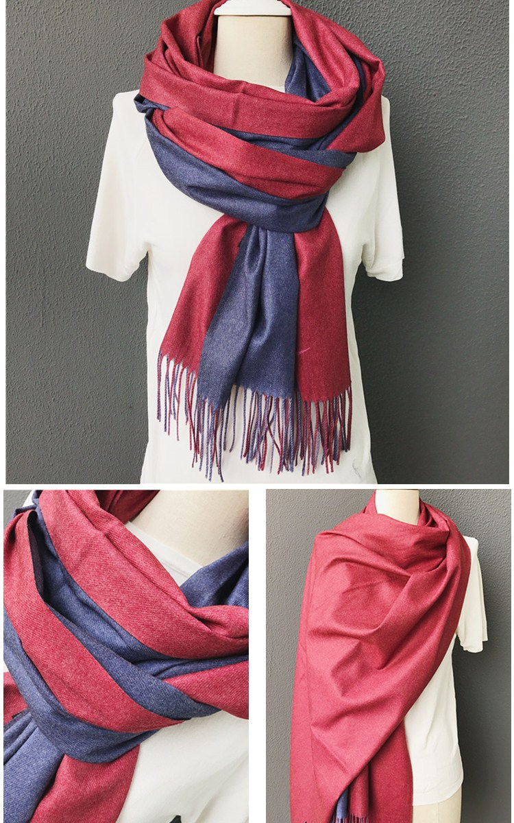 Best-selling Christmas red color fashion women two side design cashmere scarf shawls