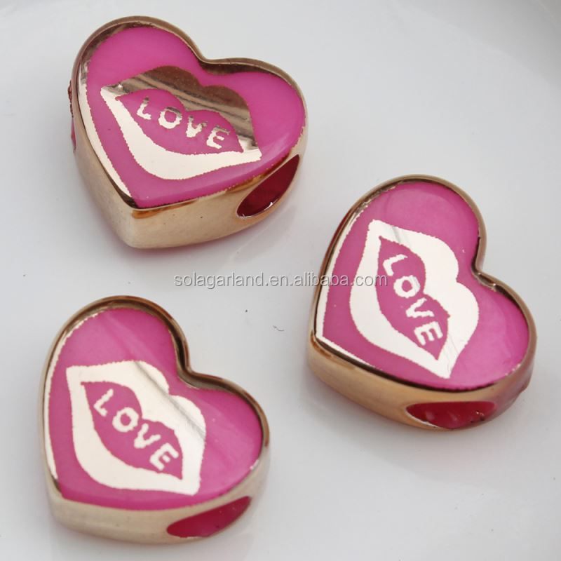 5*10*15MMCarved Jelly Colorful Fashion Heart Charm Beads Factory