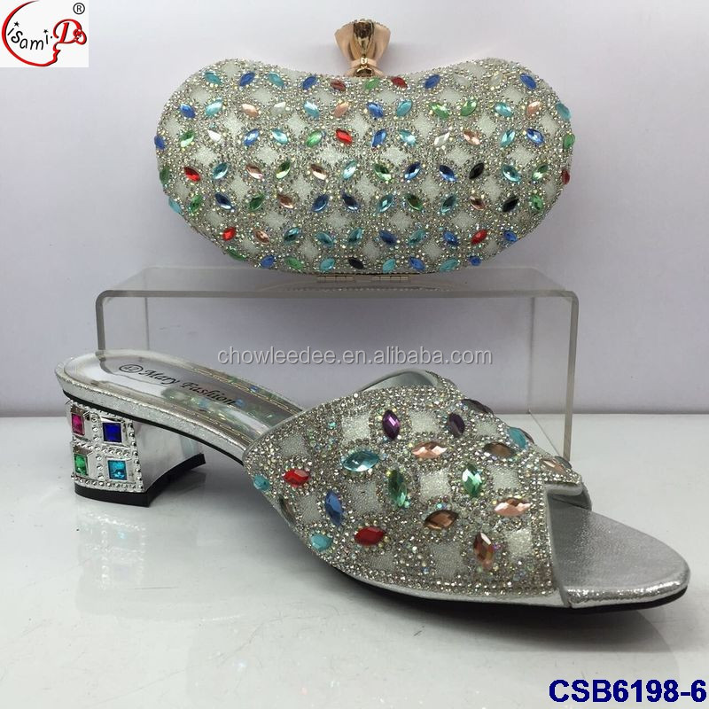 Red ornament shoes CSB6198 4 set color stones design party for women bag and colorful fashion italian rrxwf