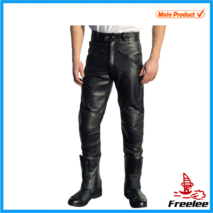 2015 Mens black leather trousers factory