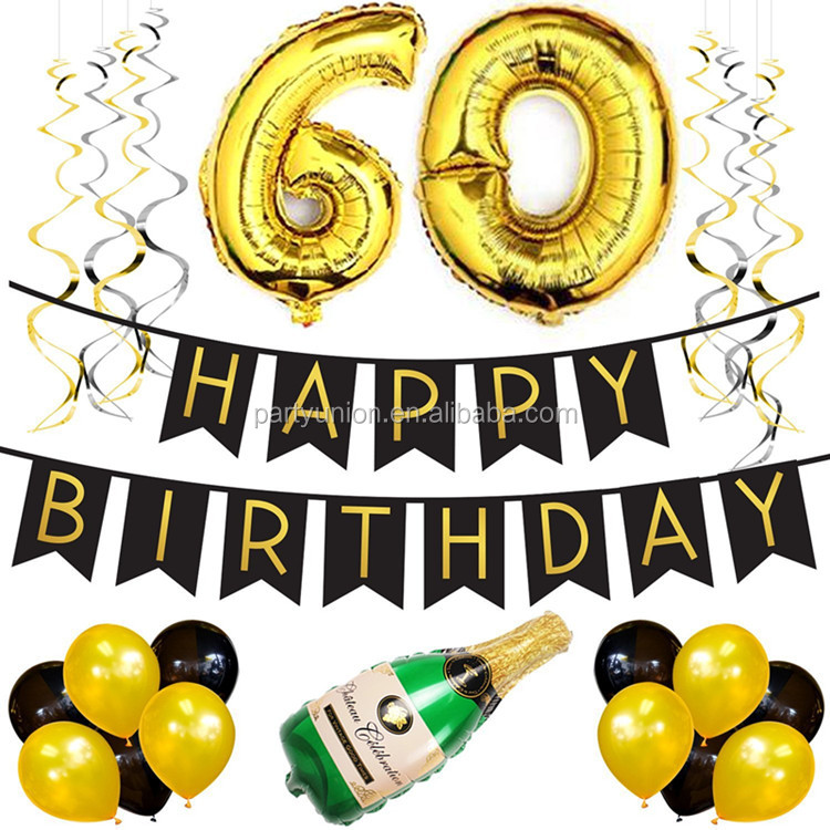 60th Birthday Party Decorations Balloons Foil With Happy Banner