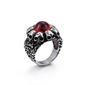Punk Aço Inoxidável Crânio Anéis de Cristal Vermelho Setting Gothic Skull Heads Anel de Dedo Banda de Rock Jóias