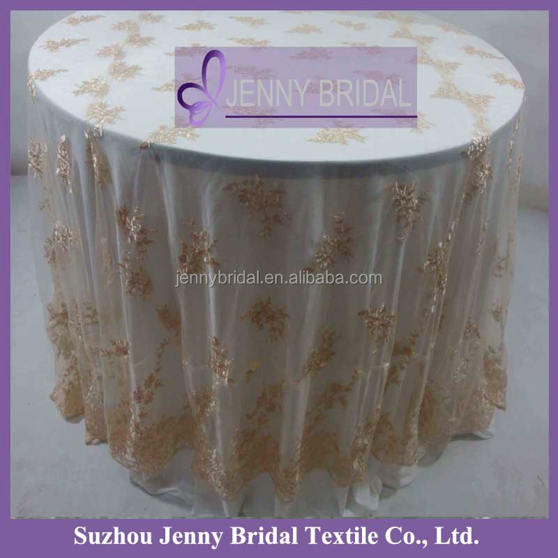 Tl002r2 Fancy Champagne Wedding Lace Fabric 132 Round Table Cloth
