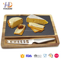 3 Piece Acacia Wood Natural cheese slate board Plate Slicer Set