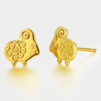 Cute Gold Plated Sheep Silver Animal Piercing Stud Earrings 2017 With Earring Backs