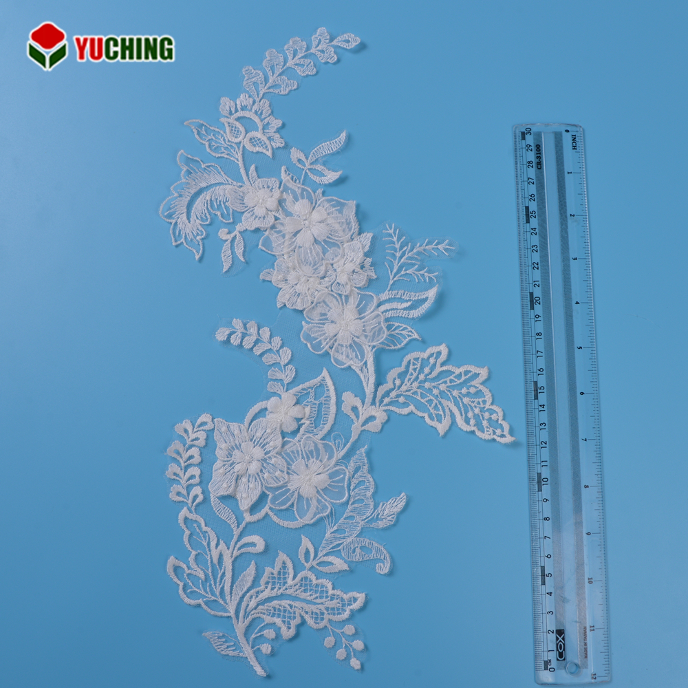 Custom bridal white african 3d flower net lace embroidered fabric