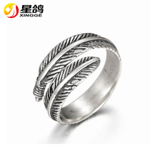 Woman's Antiqued 925 Sterling Silver Leaf Rings for female & Male Retro Rock Punk Leaf Rings Fashion Fine Jewelry Wholesale