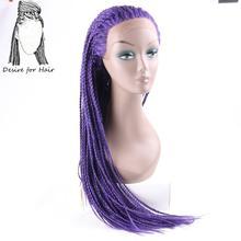 Desire for hair 28 дюймов длинные термостойкие синтетические плетеные косички Кружева передние парики для черных женщин Омбре черный 613 # цвет(Китай)