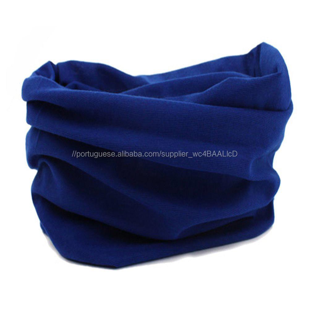 Tubo De Cor Slida Simples Leno Polister Azul Marinho Buffs Buff Bandana Outwear Sem Costura Design