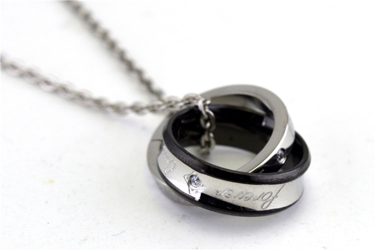 Wholesale in Europe and the lucky double circle pendant necklace couples titanium steel set auger accessories foreign <strong>trade</strong>