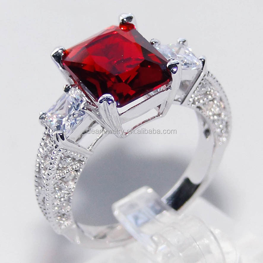 Hot Selling!New Style Fashion Jewelry Sliver Ring Red CZ Stone Wedding Ring For Women DR0300967R