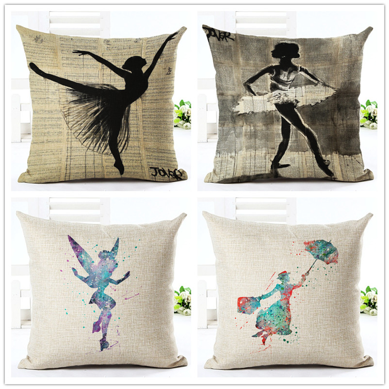45cm Vintage Ballet Girl Boho Fashion Custom DIY Cotton Linen Throw Pillow Hot Sale 18 Inch New Home Decor Sofa Back Cushion QJJ