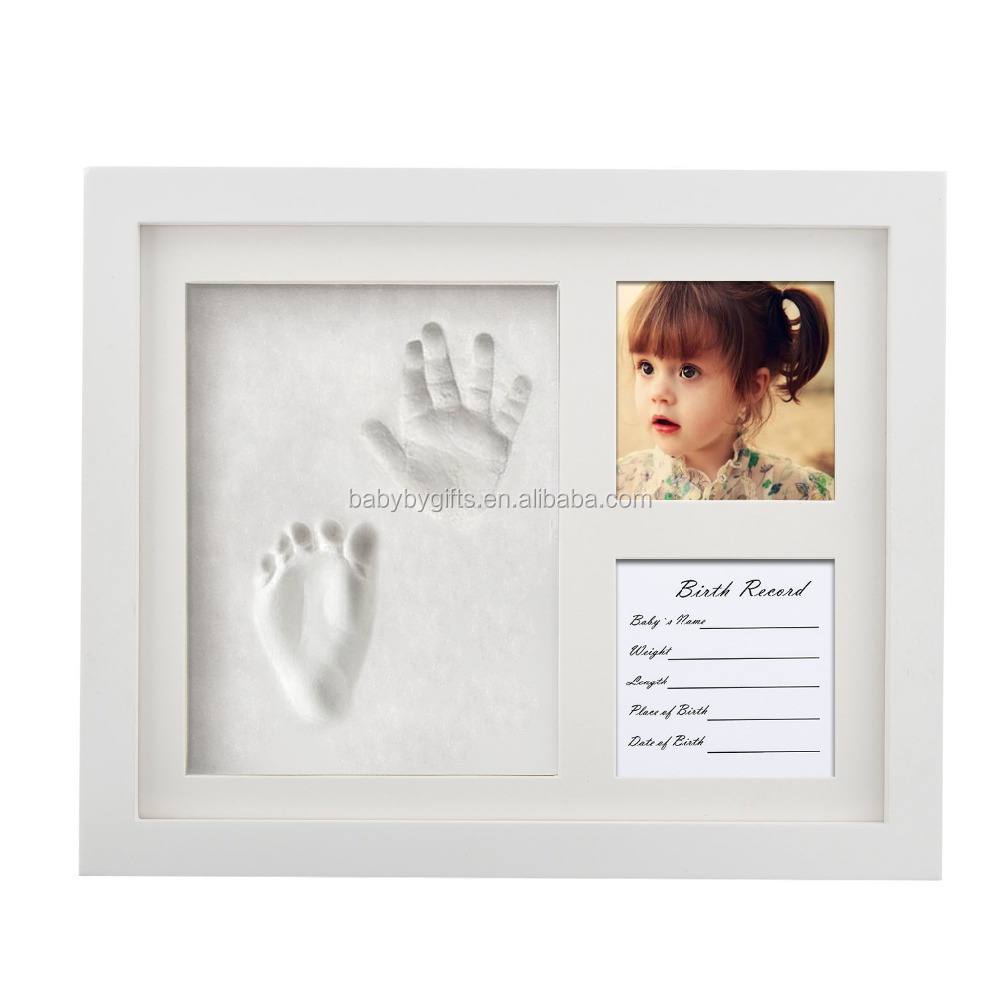 2016 high quality beautiful baby photo picture frame with handprint kit
