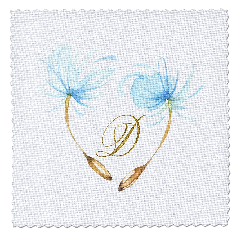 3dRose Anne Marie Baugh - Monograms - Pretty Watercolor Blue Dandelion Wishes, Gold Monogram D Design - 8x8 inch Quilt Square (qs_267739_3)