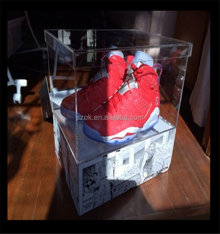 high glass dessktop acrylic shoe display case with adidas