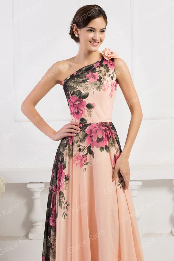 ed72e5b4d0 3 Designs Grace Karin Stock One Shoulder Flower Pattern Floral Print Chiffon  Evening Dress Gown Party Long Prom dresses 2016 CL7USD fifty nine.00-63.60   ...
