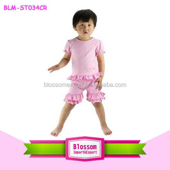 Fashion baby clothes wholesale children's boutique flutter sleeves shirts sea-maid shorts 3 pieces baby outfits