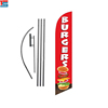 Outdoor advertising fiberglass pole feather polyester flag for burgers