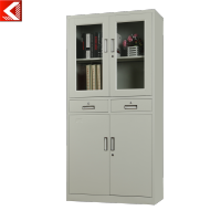 Knock down steel cupboard design office filing cabinet with glass door